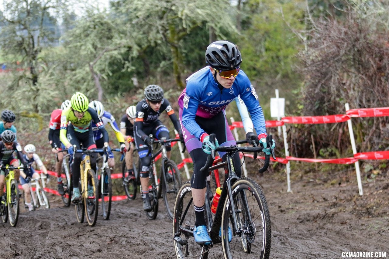 Benjamin Crimson leads up the early part of the first climb. Junior Men 15-16. 2019 Cyclocross National Championships, Lakewood, WA. © D. Mable / Cyclocross Magazine