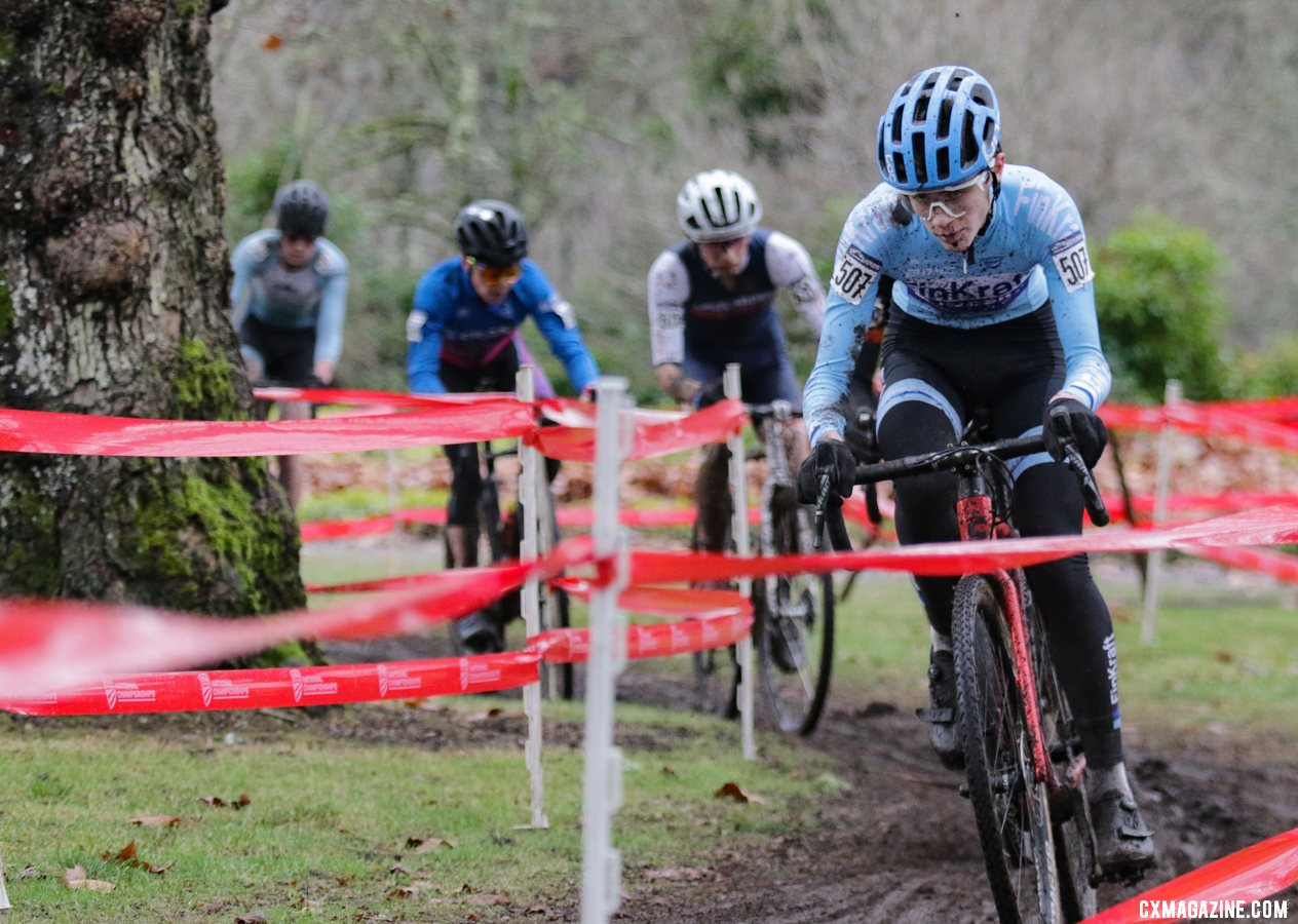 Frank O'Reilly Jr. drives the lead group through the trees. Junior Men 15-16. 2019 Cyclocross National Championships, Lakewood, WA. © D. Mable / Cyclocross Magazine