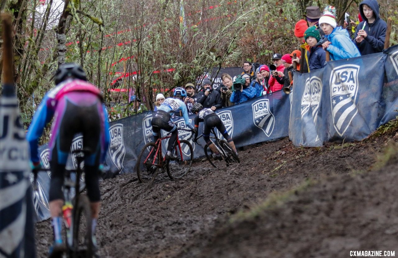 Riders weave down the steep chicane descent, a popular spot for fans. Junior Men 15-16. 2019 Cyclocross National Championships, Lakewood, WA. © D. Mable / Cyclocross Magazine