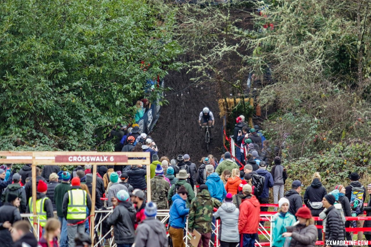 Ian Brown drops into the crowd gathered at the base of the Disco-drop descent. Junior Men 15-16. 2019 Cyclocross National Championships, Lakewood, WA. © D. Mable / Cyclocross Magazine