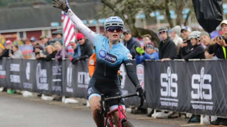 Mia Aseltine was able to celebrate her sprint win at the end of the race. Junior Women 15-16. 2019 Cyclocross National Championships, Lakewood, WA. © D. Mable / Cyclocross Magazine