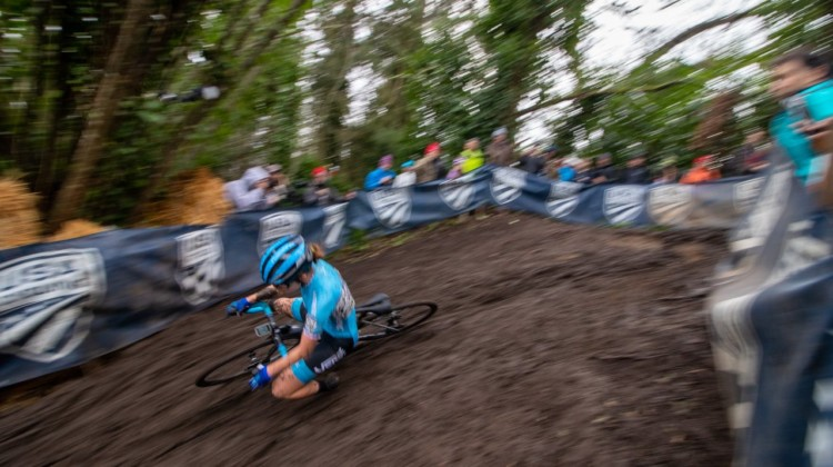 Caught in action! Katherine Sarkisov takes a spill on the steep, rutted downhill. Junior Women 15-16. 2019 Cyclocross National Championships, Lakewood, WA. © A. Yee / Cyclocross Magazine