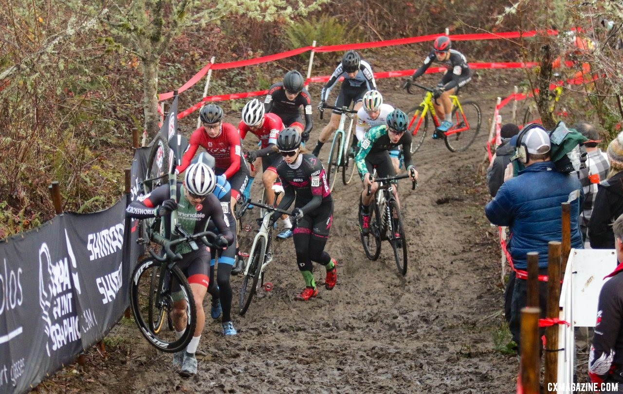 Magnus Sheffield leads the field up the first climb. Junior 17-18 Men. 2019 Cyclocross National Championships, Lakewood, WA. © D. Mable / Cyclocross Magazine