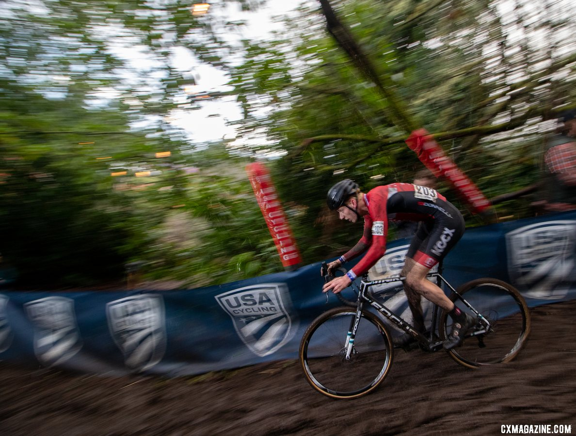 Nick Carter had to chase after an early crash. Junior 17-18 Men. 2019 Cyclocross National Championships, Lakewood, WA. © A. Yee / Cyclocross Magazine