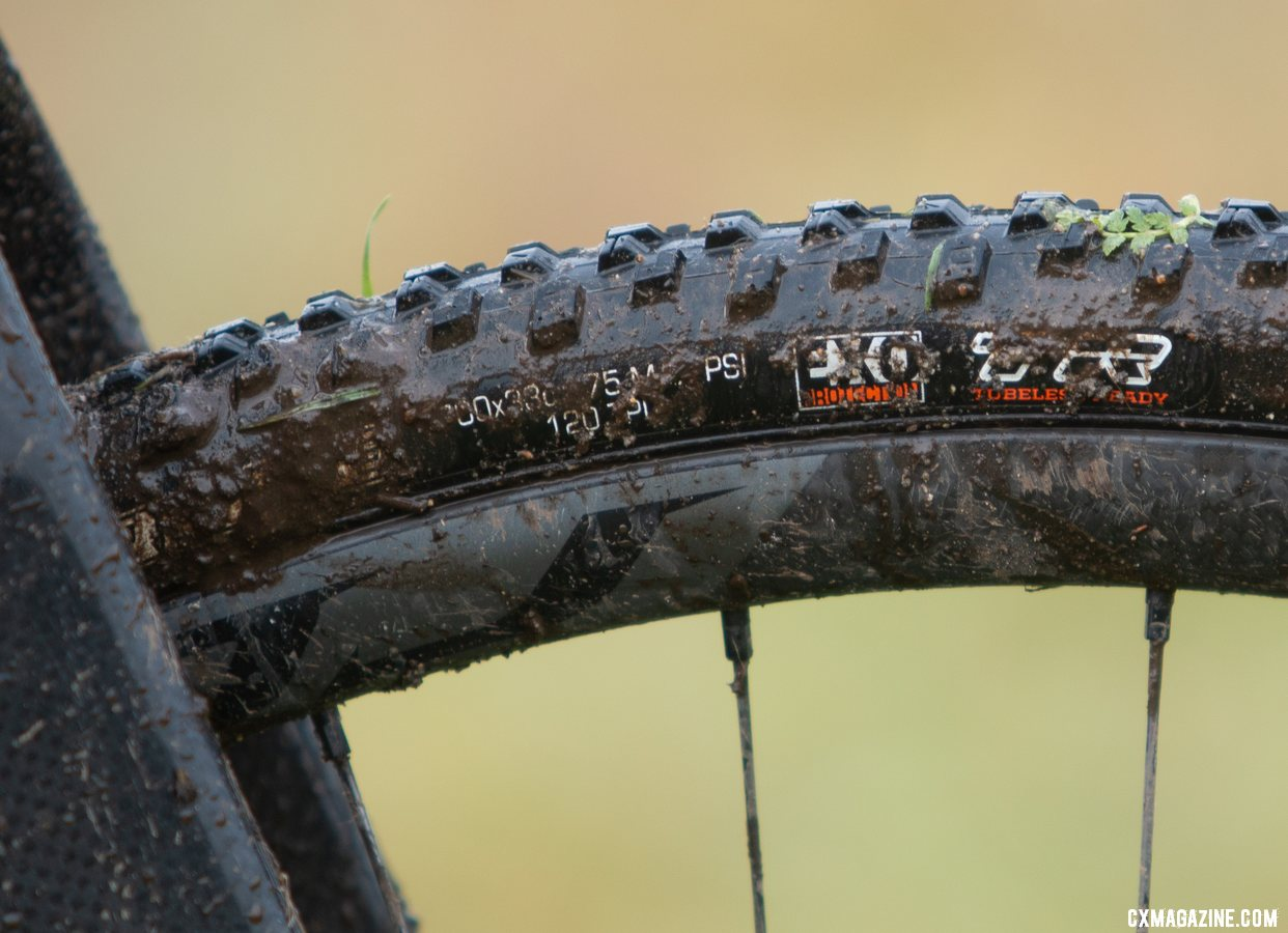 While she only cut her rear tire, Mullins raced on a new front tire as well. Kira Mullins' Junior Women 11-12 wiining bike. 2019 USA Cycling Cyclocross National Championships bike profiles, Lakewood, WA. © A. Yee / Cyclocross Magazine