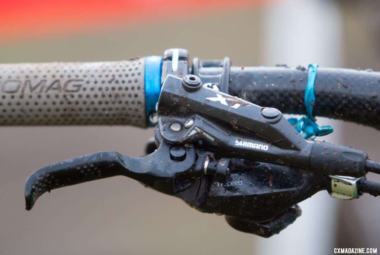 Shimano XT brakes feature an external reach adjustment knob. Kira Mullins' Junior Women 11-12 wiining bike. 2019 USA Cycling Cyclocross National Championships bike profiles, Lakewood, WA. © A. Yee / Cyclocross Magazine