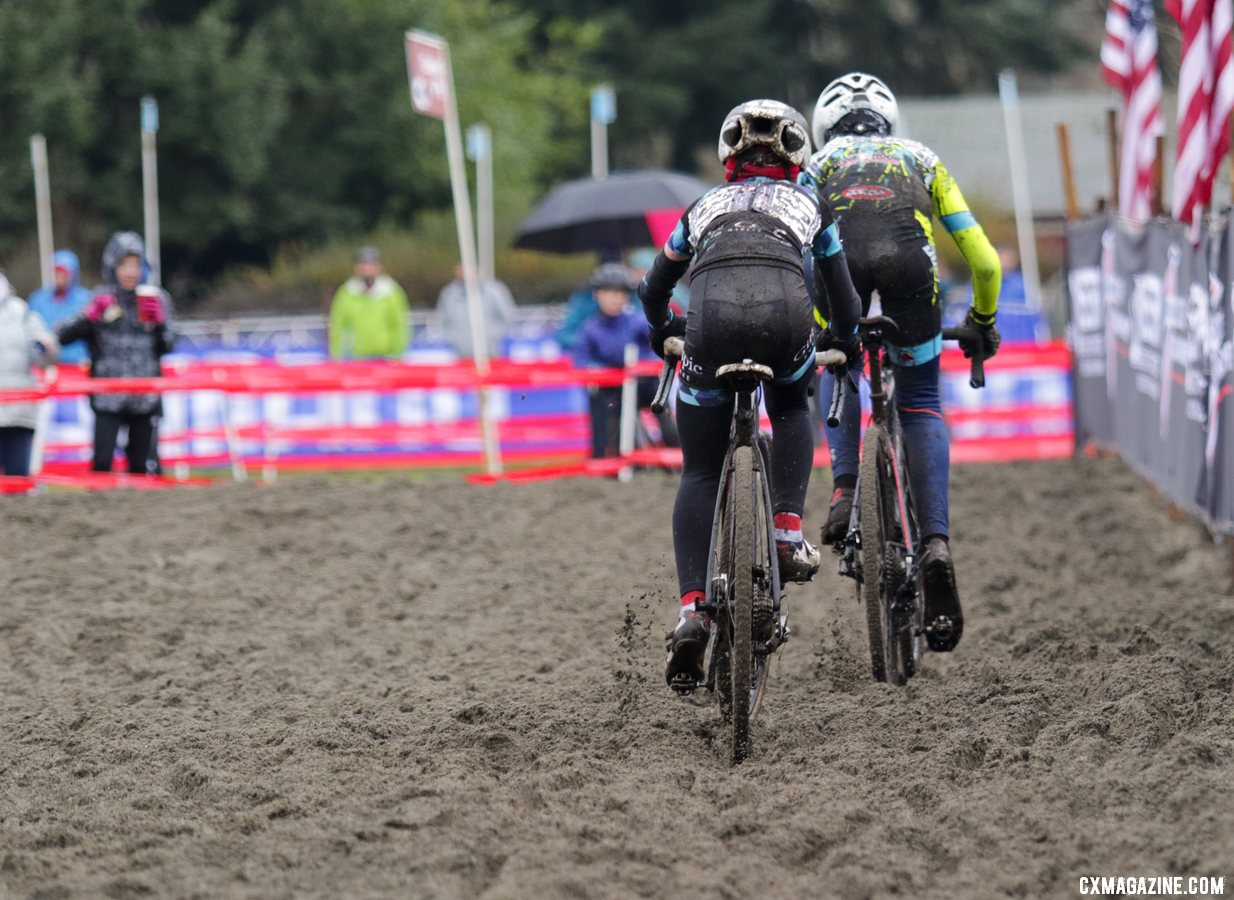 The two leaders race through the sand, as Rowan Child and Kian Reid fishtail across the sandpit. Junior Men 11-12. 2019 Cyclocross National Championships, Lakewood, WA. © D. Mable / Cyclocross Magazine