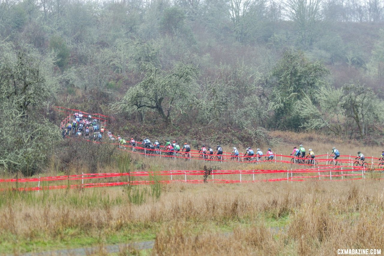 The large field of 62 riders heads for the base of the first climb. Junior Men 13-14. 2019 Cyclocross National Championships, Lakewood, WA. © D. Mable / Cyclocross Magazine