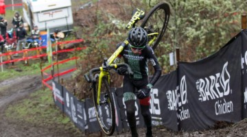 Miles Mattern has a large lead as he makes his way to the top of the penultimate climb. Junior Men 13-14. 2019 Cyclocross National Championships, Lakewood, WA. © D. Mable / Cyclocross Magazine