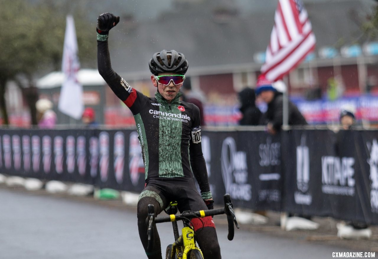 Miles Mattern celebrates as he crosses the line as the Junior Men 13-14 National Champion. Junior Men 13-14. 2019 Cyclocross National Championships, Lakewood, WA. © D. Mable / Cyclocross Magazine
