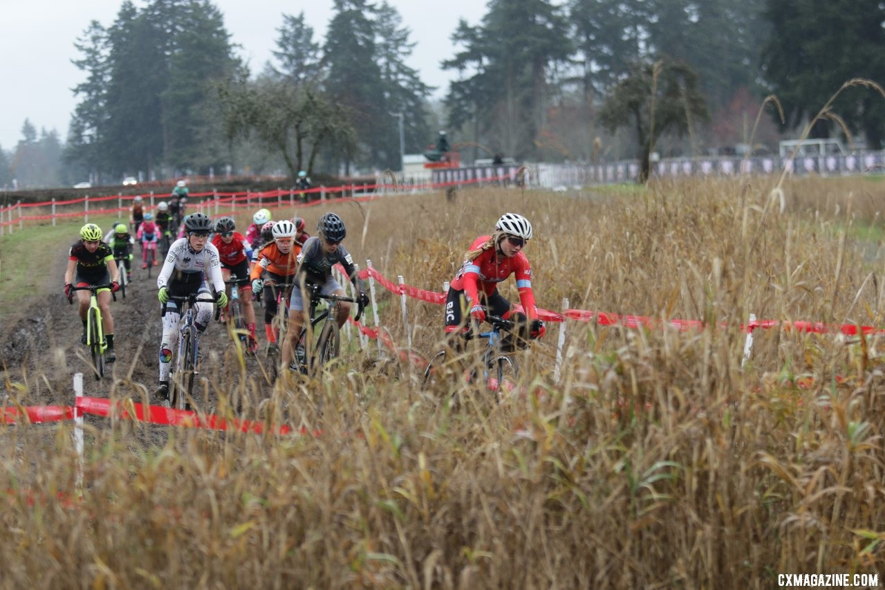 Jorja Bond takes the holeshot and leads the field of 24 riders to the base of the first climb. Junior Women 13-14. 2019 Cyclocross National Championships, Lakewood, WA. © D. Mable / Cyclocross Magazine