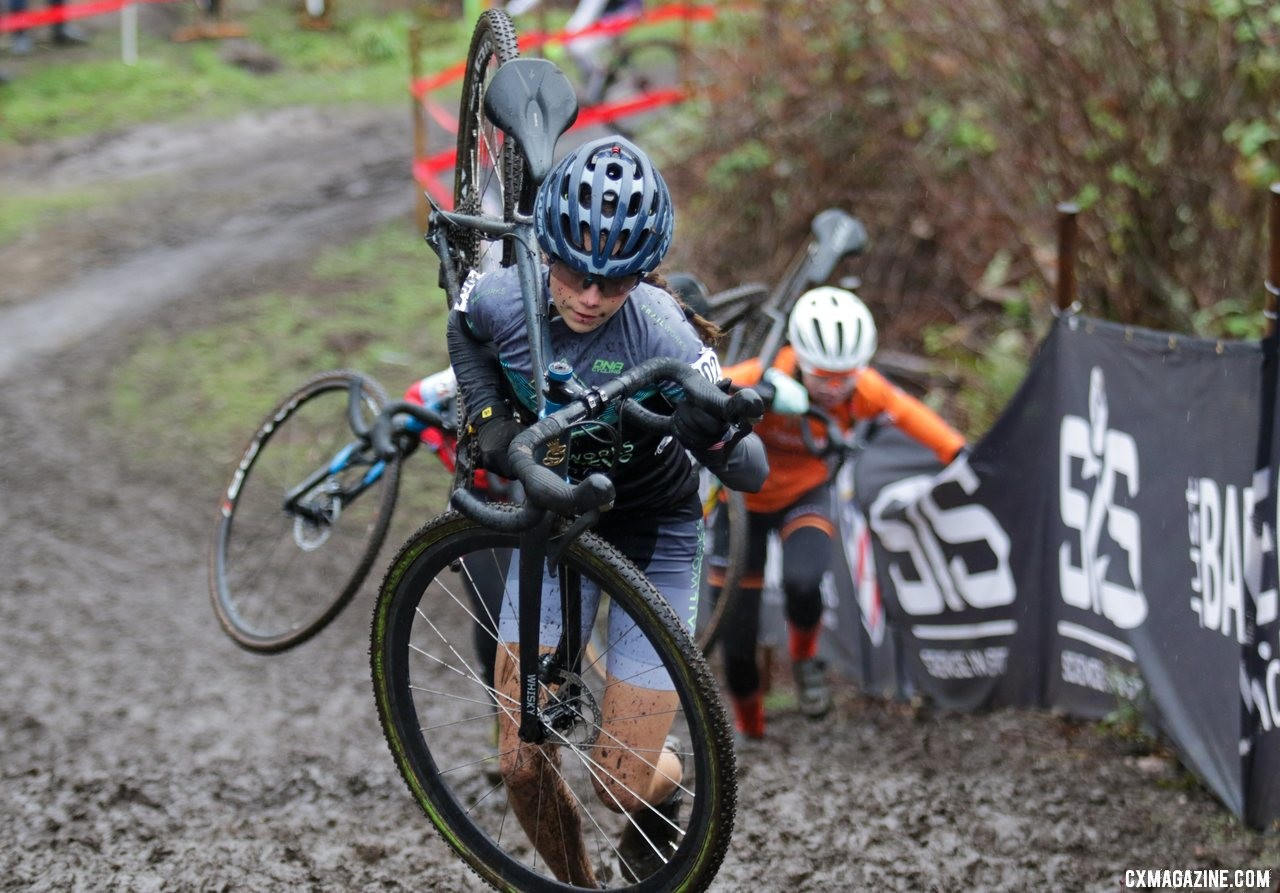 Vida Lopez De San Roman is chases by Dahilia Kissel and Haydn Hludzinski as she climbs the second run-up. Junior Women 13-14. 2019 Cyclocross National Championships, Lakewood, WA. © D. Mable / Cyclocross Magazine