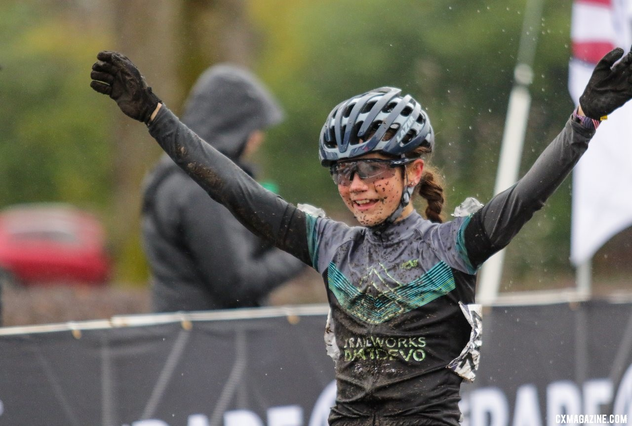 Vida Lopez De San Roman celebrates her new title of National Champion. Junior Women 13-14. 2019 Cyclocross National Championships, Lakewood, WA. © D. Mable / Cyclocross Magazine