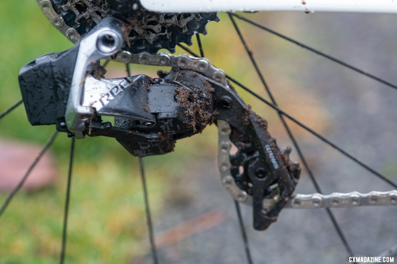 The AXS road derailleur can accept up to a 33t cassette cog, which the team uses full time. Katie Clouse's U23 Women's winning Cannondale Super-X. 2019 Cyclocross National Championships, Lakewood, WA. © A. Yee / Cyclocross Magazine