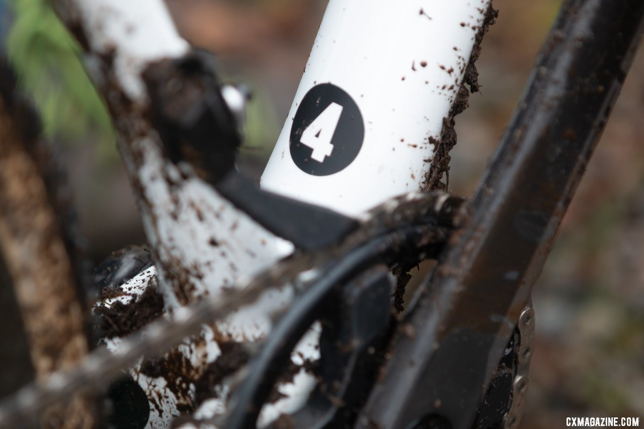 Clouse's bike was equipped with a 3D printed chain keeper that mounted to the front derailleur braze on. Katie Clouse's U23 Women's winning Cannondale Super-X. 2019 Cyclocross National Championships, Lakewood, WA. © A. Yee / Cyclocross Magazine