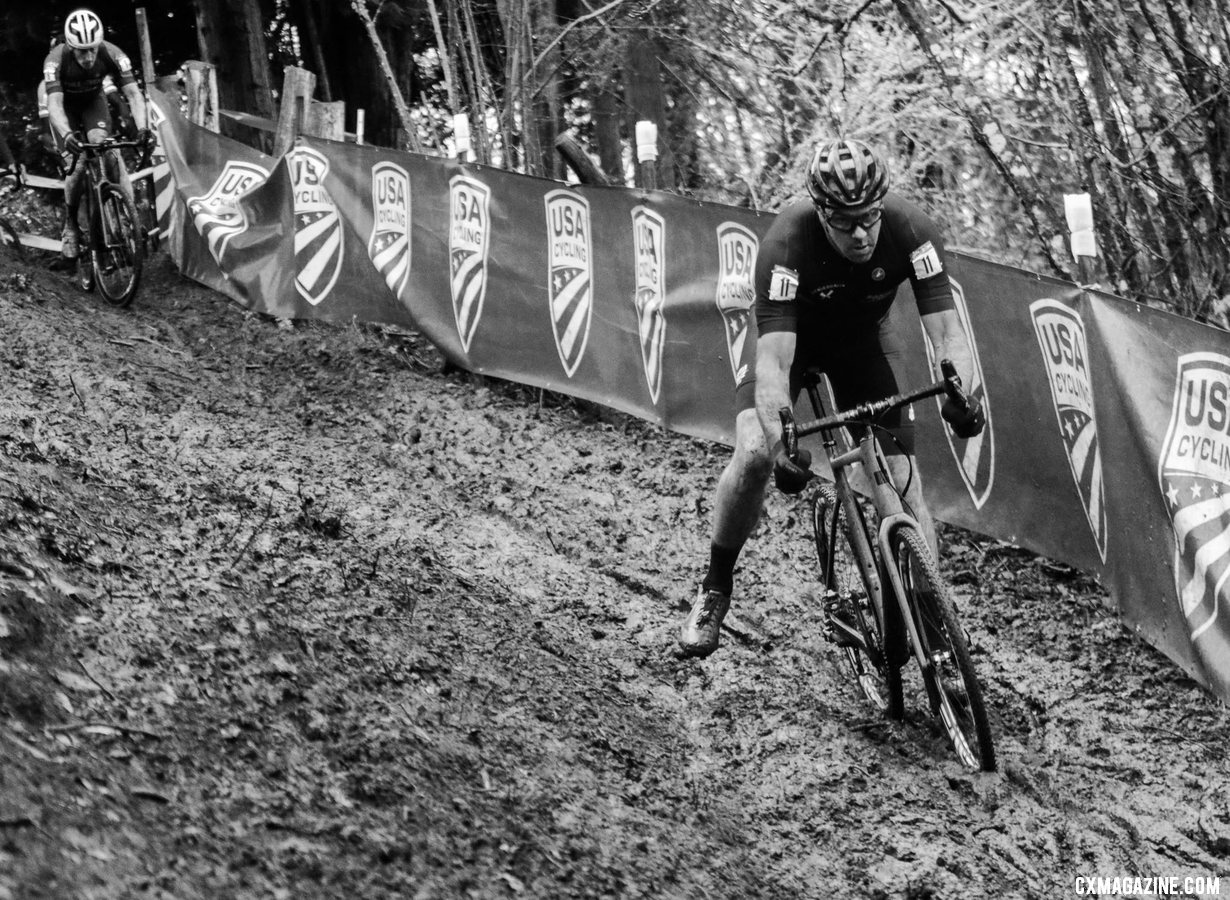 Justin Robinson led the way early in the first lap. Masters Men 45-49. 2019 Cyclocross National Championships, Lakewood, WA. © D. Mable / Cyclocross Magazine
