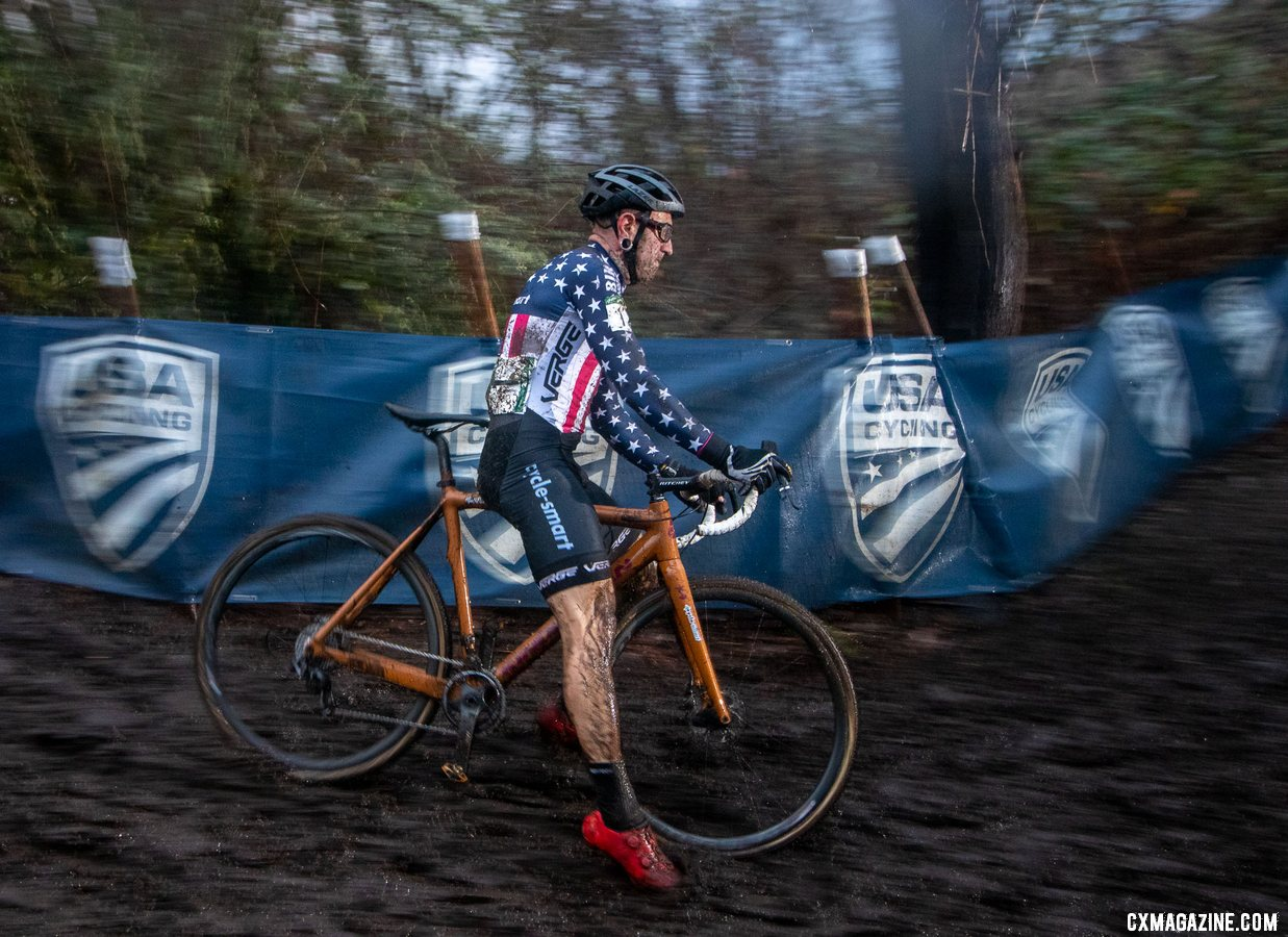 Myerson missed defending his championship jersey but still slid to a top-five finish. Masters Men 45-49. 2019 Cyclocross National Championships, Lakewood, WA. © A. Yee / Cyclocross Magazine