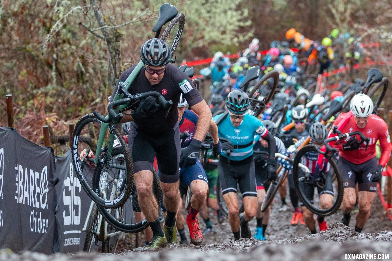 Justin Robinson got the holeshot and kept it up the first run-up. Masters Men 45-49. 2019 Cyclocross National Championships, Lakewood, WA. © A. Yee / Cyclocross Magazine