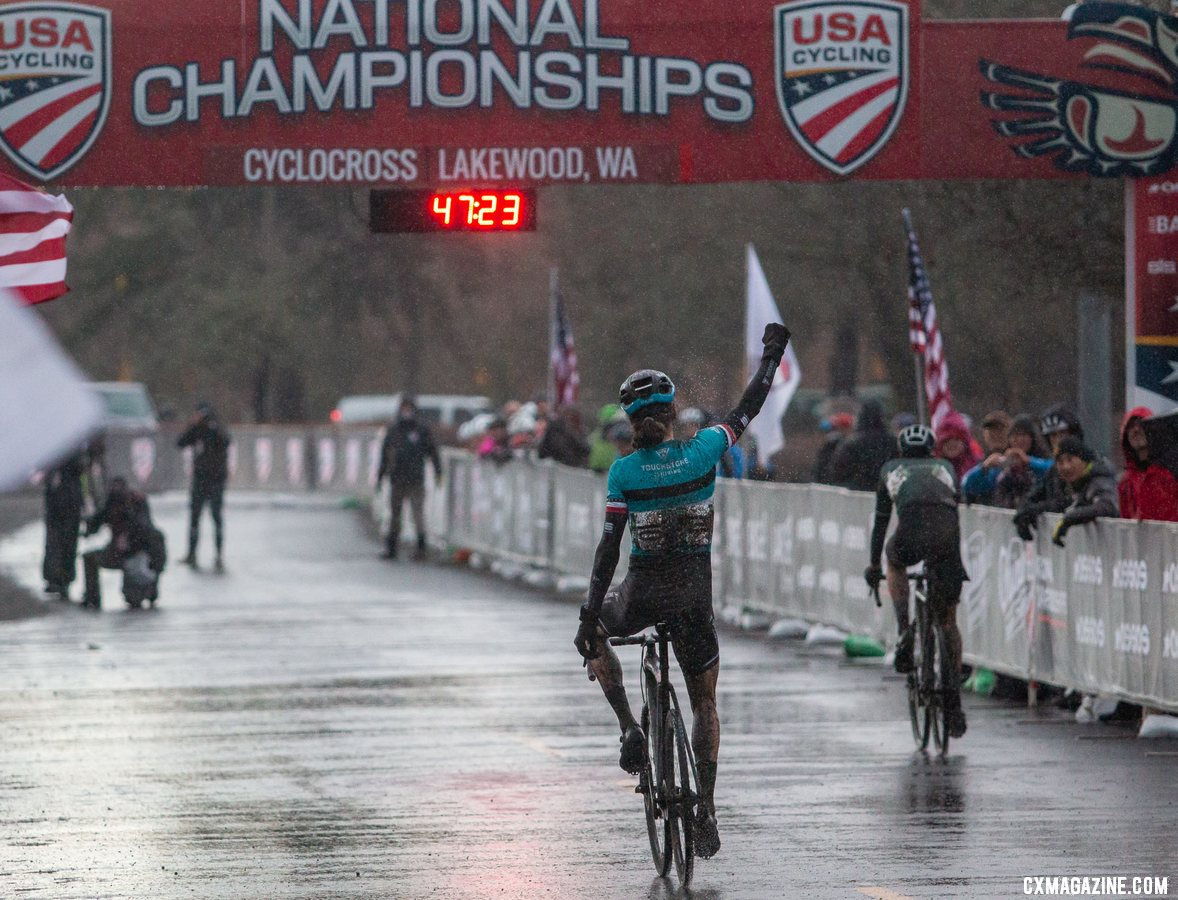 Former Worlds team member Jonathan Baker added a second 2019 USA Cycling National title to go along with his road title. Masters Men 45-49. 2019 Cyclocross National Championships, Lakewood, WA. © A. Yee / Cyclocross Magazine