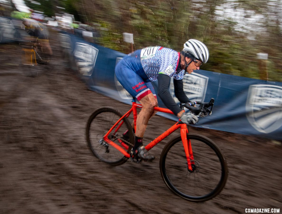 Myrah surfed the slipper descents to take back time and come back from a slow start. Masters 50-54. 2019 Cyclocross National Championships, Lakewood, WA. © A. Yee / Cyclocross Magazine