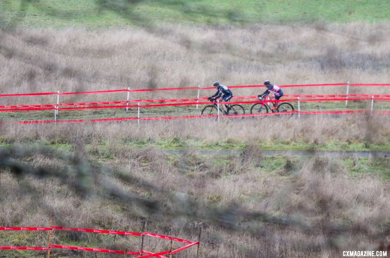 Andy August leads Todd Cassan into the final lap of their rainy battle. Masters Men 55-59. 2019 Cyclocross National Championships, Lakewood, WA. © D. Mable / Cyclocross Magazine