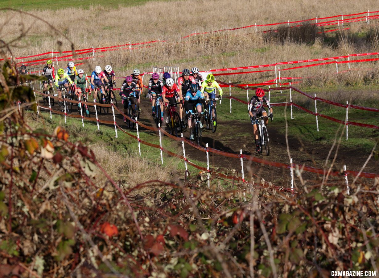 The field heads up to the base of the first climb, led by Heidi Wood. Masters Women 35-39. 2019 Cyclocross National Championships, Lakewood, WA. © D. Mable / Cyclocross Magazine