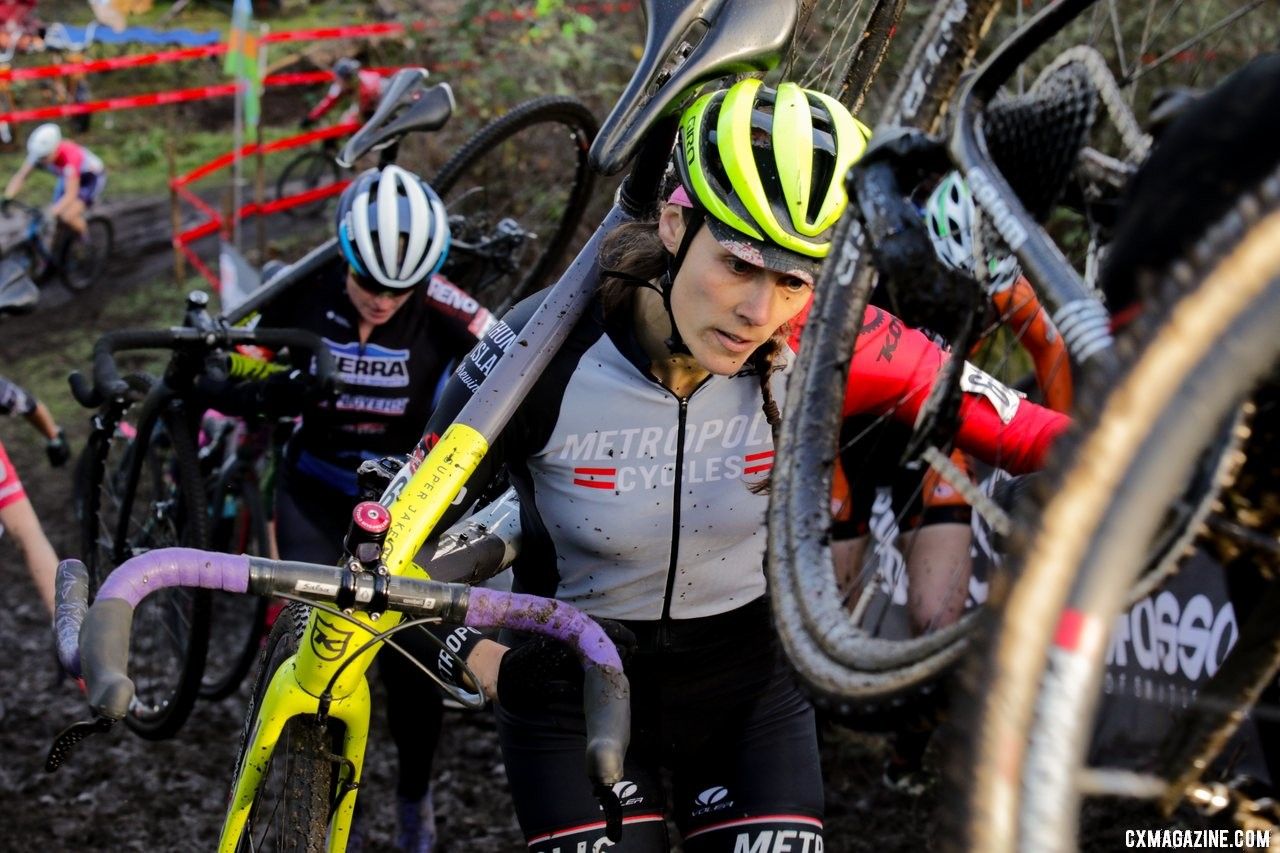 Jannele Bickford picks her way through traffic up one of the steep climbs. Masters Women 35-39. 2019 Cyclocross National Championships, Lakewood, WA. © D. Mable / Cyclocross Magazine