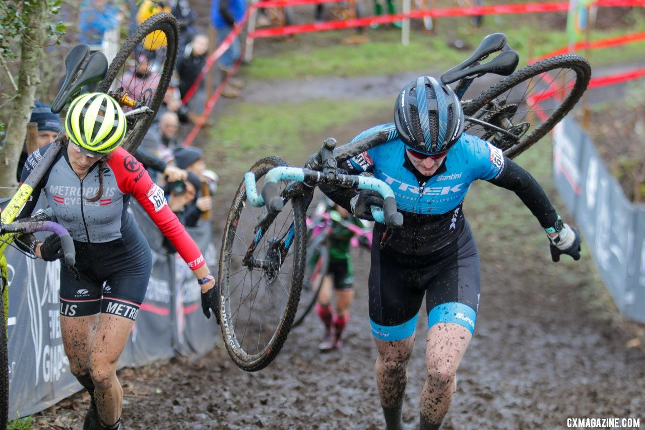 It was a close, very competitive race to the end. Masters Women 35-39. 2019 Cyclocross National Championships, Lakewood, WA. © D. Mable / Cyclocross Magazine