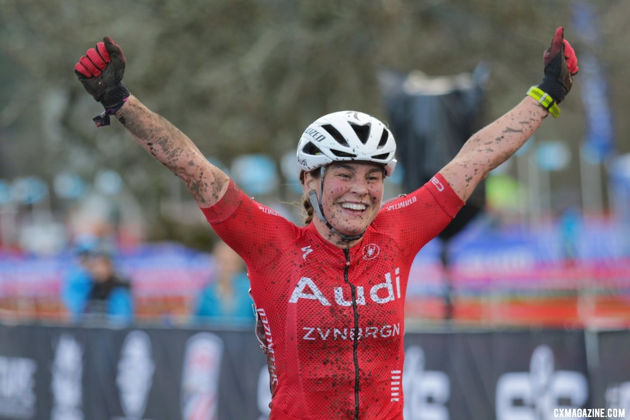 Laura Matsen Ko ran away to a a Masters Women 35-39 title in her rookie season of cyclocross. 2019 Cyclocross National Championships, Lakewood, WA. © D. Mable / Cyclocross Magazine