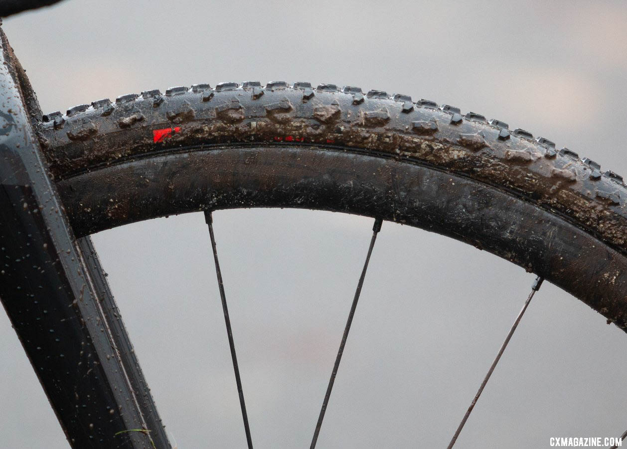One of the few differences between Munro's primary bike and her pit bike are the wheels. Shown here are the Rovals, while the primary bike gets the newer Cadex wheels, both with Donnelly PDX tubulars. 2019 Cyclocross National Championships, Lakewood, WA. © A. Yee / Cyclocross Magazine