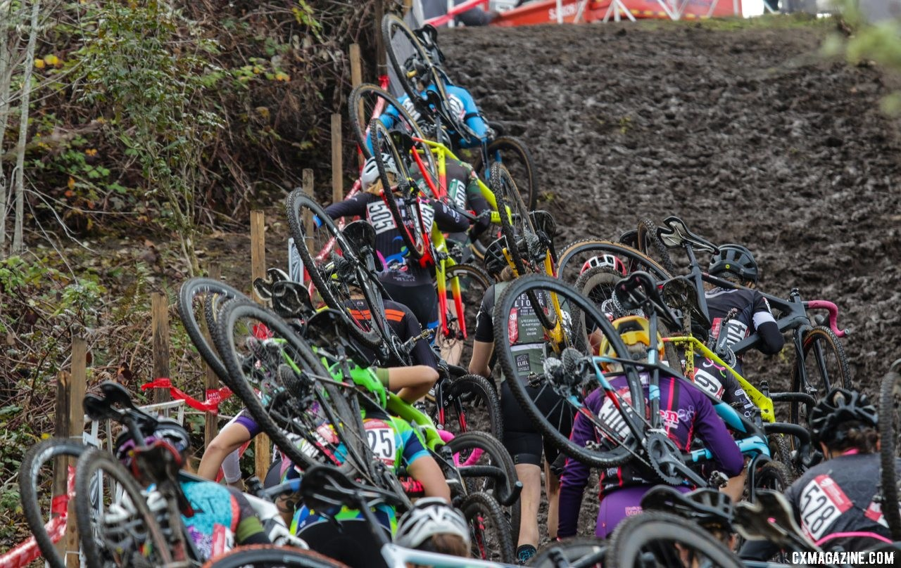 Riders defy gravity and cascade uphill on the first climb of the race. Masters Women 40-44. 2019 Cyclocross National Championships, Lakewood, WA. © D. Mable / Cyclocross Magazine