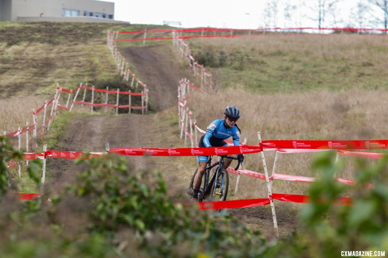 What a gap! Tricia Fleischer opened up a nearly insurmountable gap midway through the race. Masters Women 40-44. 2019 Cyclocross National Championships, Lakewood, WA. © D. Mable / Cyclocross Magazine