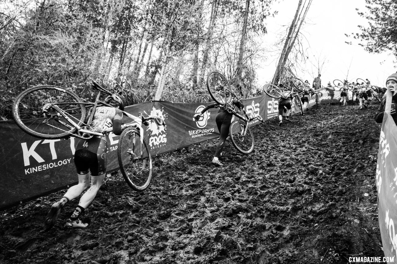 The run-up dried out compared to Thursday but is filled with holes. Masters Women 40-44. 2019 Cyclocross National Championships, Lakewood, WA. © A. Yee / Cyclocross Magazine