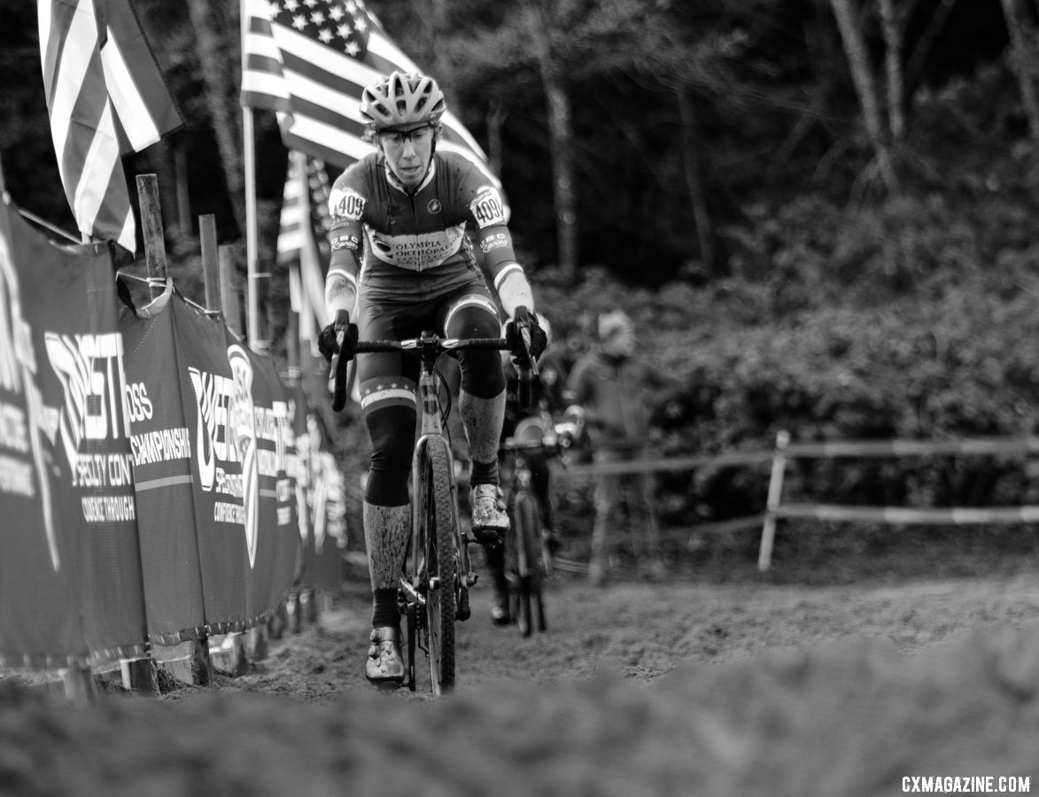 Monica Lloyd works her way though the sand. Masters Women 45-49. 2019 Cyclocross National Championships, Lakewood, WA. © D. Mable / Cyclocross Magazine