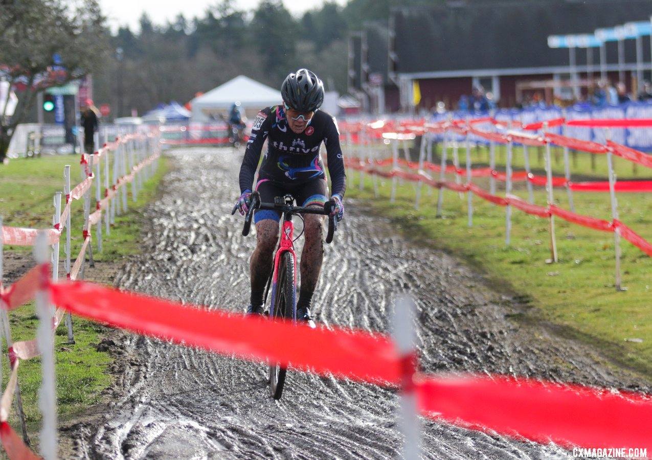 Elizabeth Sheldon, just entering the straight in the background, stayed just in site of leader Julie Robertson Zivin. Masters Women 50-54. 2019 Cyclocross National Championships, Lakewood, WA. © D. Mable / Cyclocross Magazine