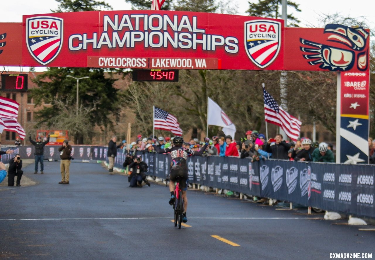 Julie Robertson Zivin held on to win the Masters Women 50-54 race on Friday. 2019 Cyclocross National Championships, Lakewood, WA. © D. Mable / Cyclocross Magazine