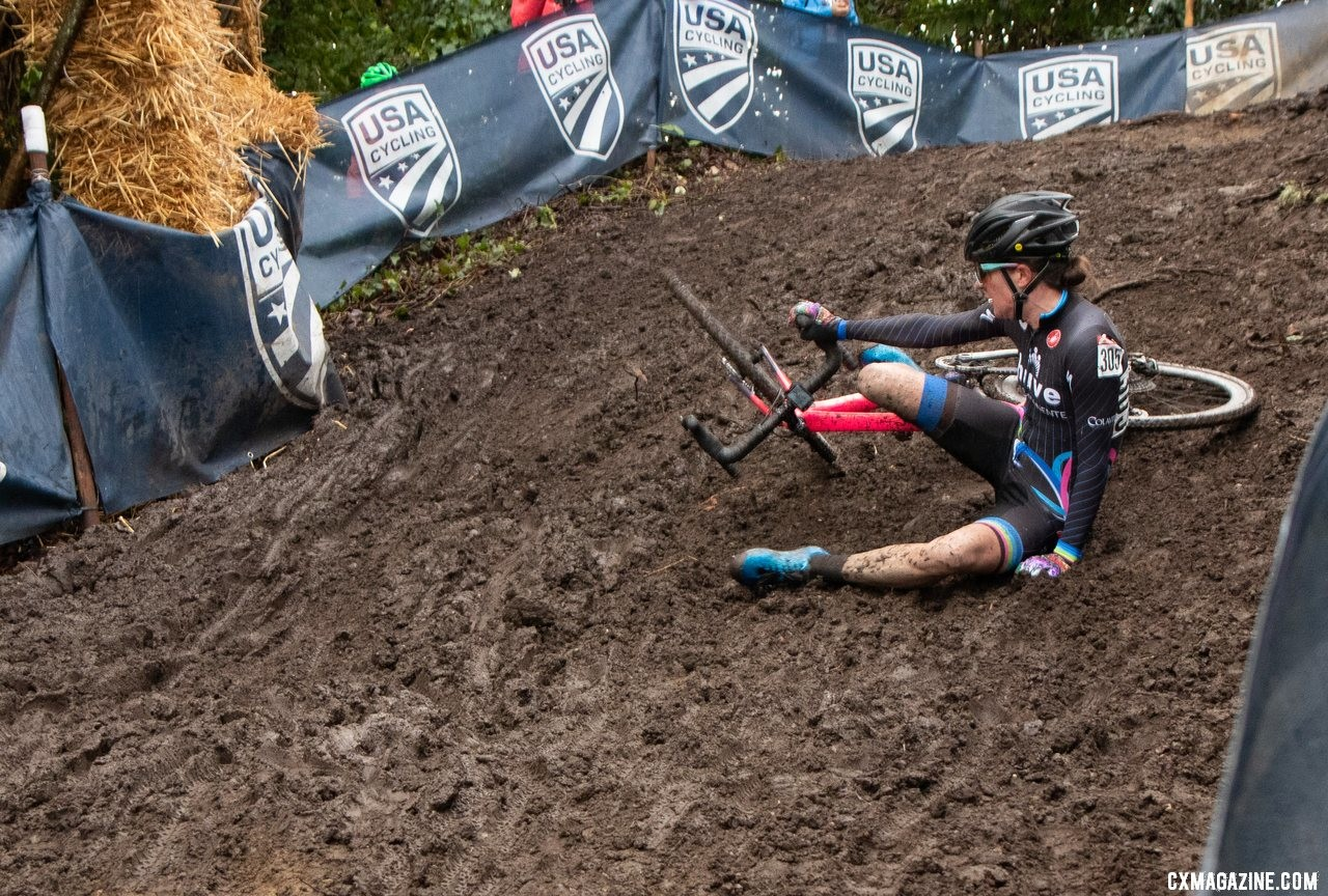 Julie Robertson Zivin crashed on the second descent but maintained her lead. Masters Women 50-54. 2019 Cyclocross National Championships, Lakewood, WA. © A. Yee / Cyclocross Magazine