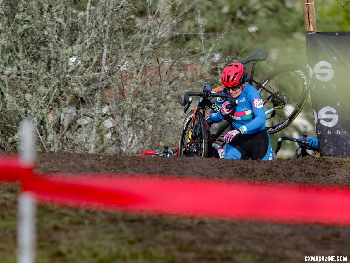 Topping out first on the initial climb of the Masters Women's 55-59 race. Masters Women 55-59. 2019 Cyclocross National Championships, Lakewood, WA. © D. Mable / Cyclocross Magazine