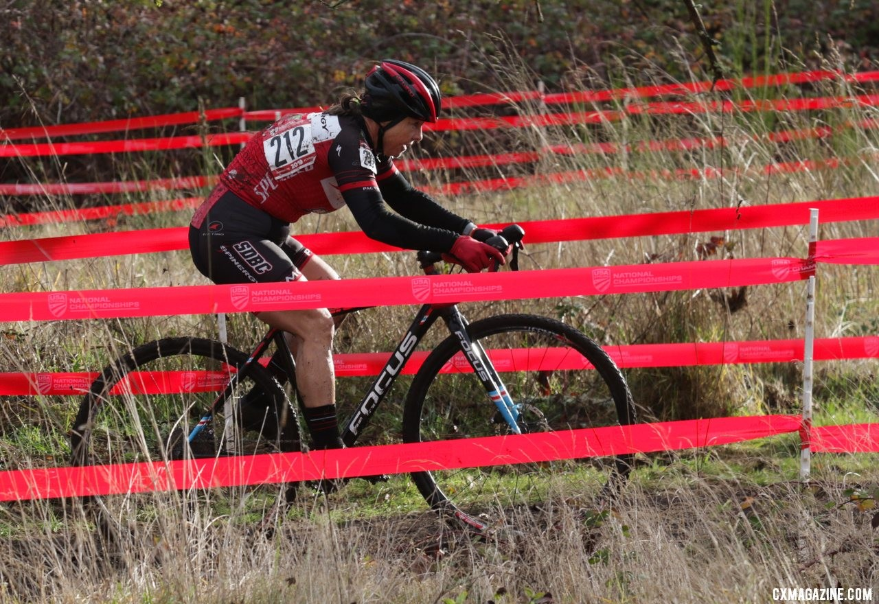 Patricia Murray led through the old apple grove early in the race. Masters Women 55-59. 2019 Cyclocross National Championships, Lakewood, WA. © D. Mable / Cyclocross Magazine