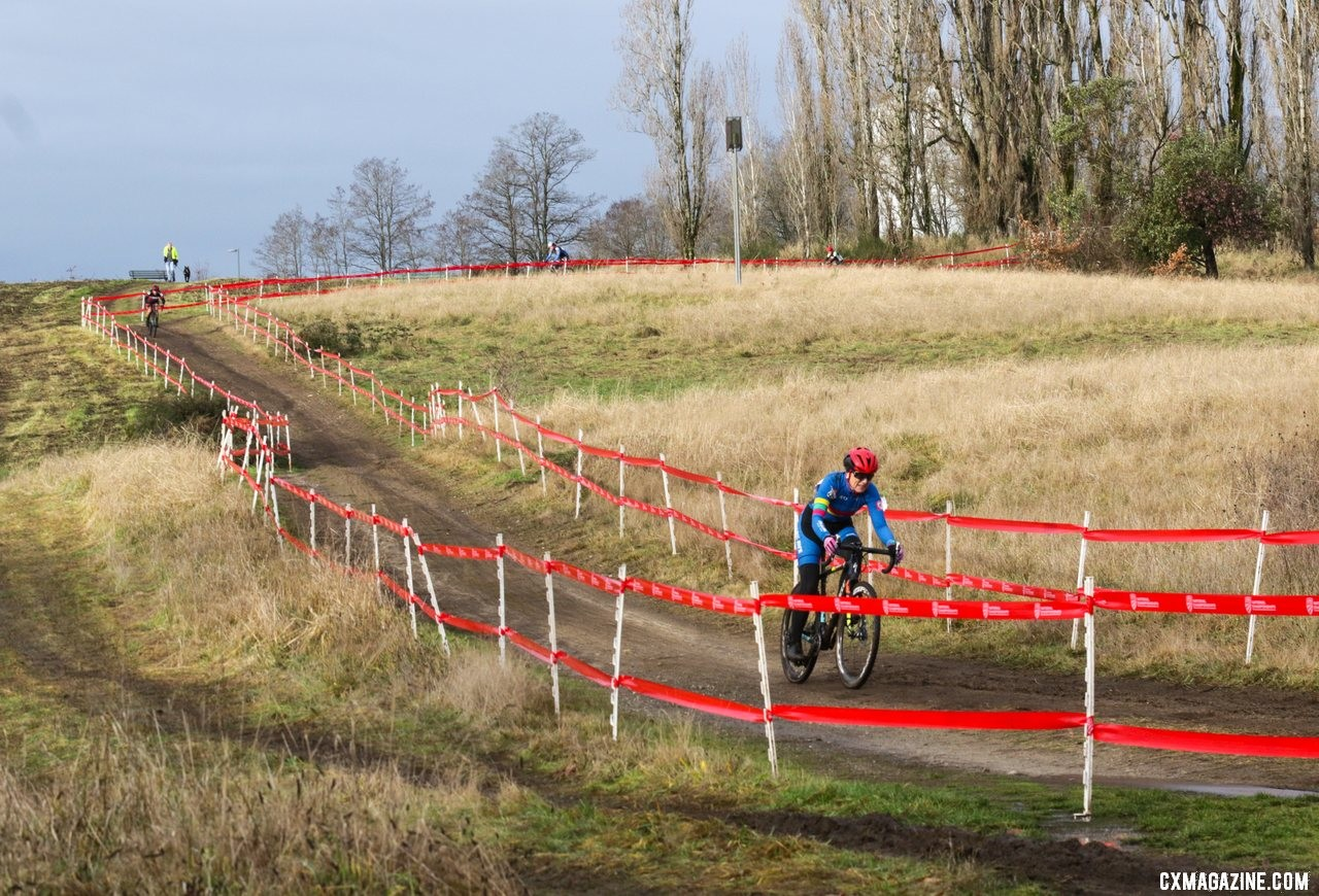 Merit Sheffield opens up a gap on the back side of the course. Masters Women 55-59. 2019 Cyclocross National Championships, Lakewood, WA. © D. Mable / Cyclocross Magazine