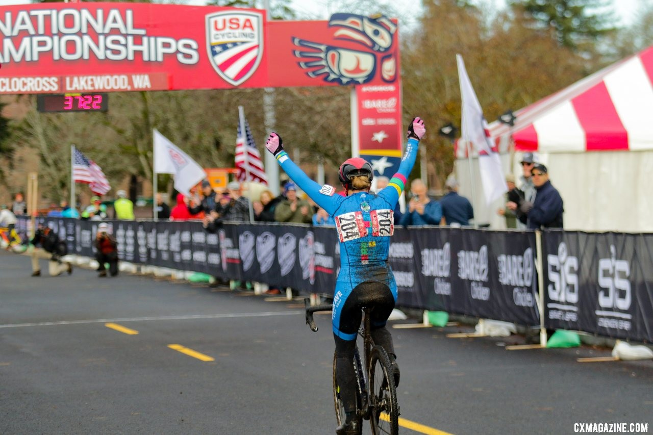 Marit Sheffield comes home to a crowd as she earns a stars and stripes National Championship jersey. Masters Women 55-59. 2019 Cyclocross National Championships, Lakewood, WA. © D. Mable / Cyclocross Magazine