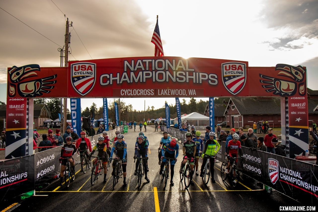 The Masters Women 55-59 field readies for the start. Masters Women 55-59. 2019 Cyclocross National Championships, Lakewood, WA. © A. Yee / Cyclocross Magazine