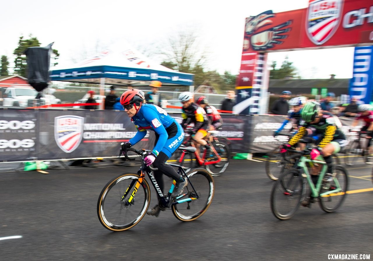 The power of the PanAm Champions jersey helped Merit Sheffield jump out in front at the start of the Masters women 55-59 race on Friday morning. Masters Women 55-59. 2019 Cyclocross National Championships, Lakewood, WA. © A. Yee / Cyclocross Magazine