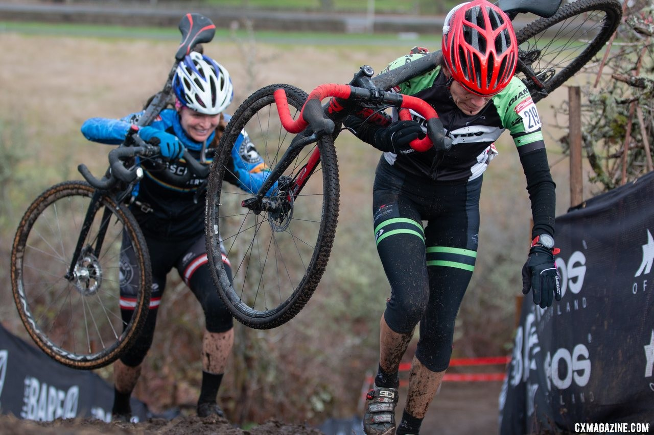 Jitka Cole reaches the top of the courses first climb, just ahead of Carolyn Daubeny. Masters Women 55-59. 2019 Cyclocross National Championships, Lakewood, WA. © A. Yee / Cyclocross Magazine