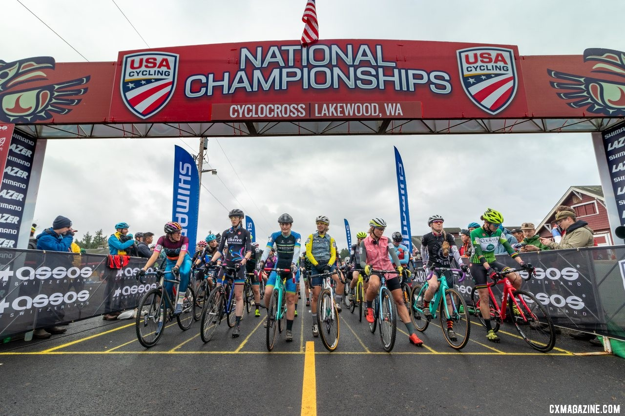 The call ups. Singlespeed Women. 2019 Cyclocross National Championships, Lakewood, WA. © A. Yee / Cyclocross Magazine