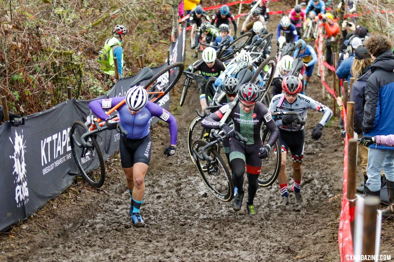 Kobi Gyetvan (122) and Lane Maher (102) lead the charge up the first climb of the race. U23 Men. 2019 Cyclocross National Championships, Lakewood, WA. © D. Mable / Cyclocross Magazine