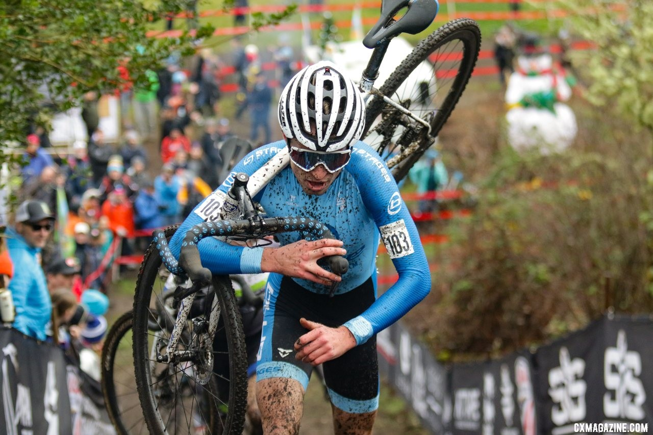Eric Brunner led the charge at the front. U23 Men. 2019 Cyclocross National Championships, Lakewood, WA. © D. Mable / Cyclocross Magazine