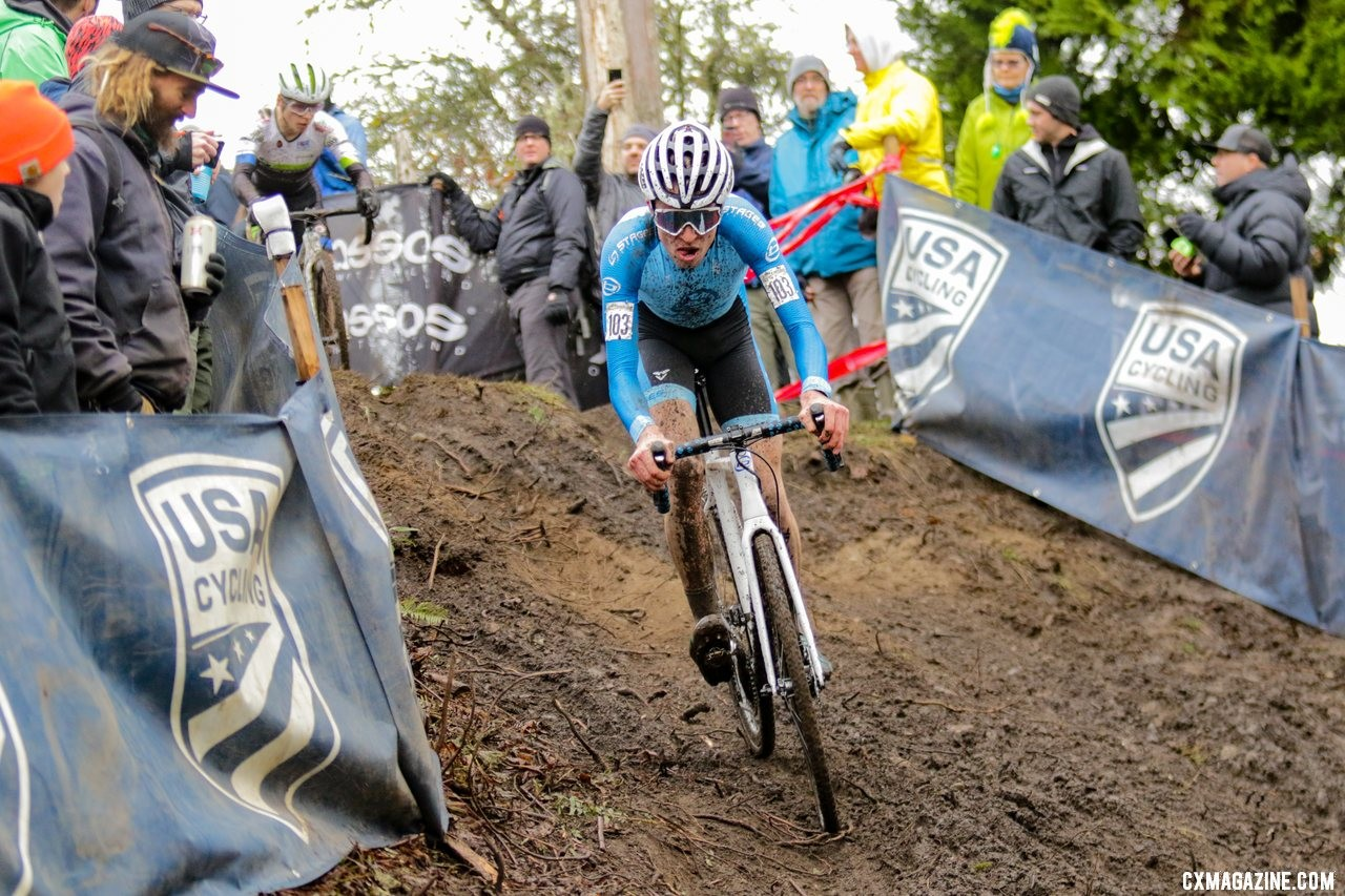 Eric Brunner battled Caleb Swartz at the front. U23 Men. 2019 Cyclocross National Championships, Lakewood, WA. © D. Mable / Cyclocross Magazine