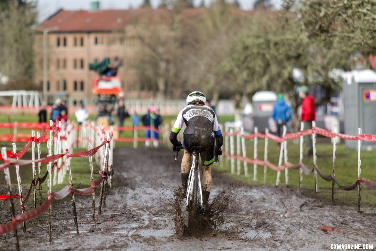 Caleb Swartz powers through the mud trying to close the gap to Eric Brunner. U23 Men. 2019 Cyclocross National Championships, Lakewood, WA. © D. Mable / Cyclocross Magazine