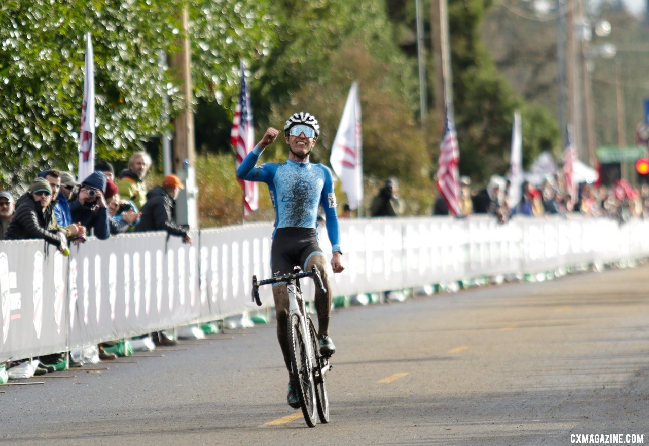 Eric Brunner won the race of 2019 Collegiate Champs and took his second title of the week. U23 Men. 2019 Cyclocross National Championships, Lakewood, WA. © D. Mable / Cyclocross Magazine
